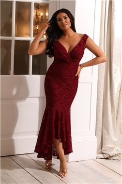 SISTAGLAM LOVES JESSICA WRIGHT TYREEN BARDOT LACE BERRY DRESS