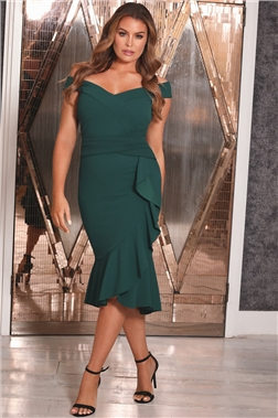 SISTAGLAM PETITE LOVES JESSICA WRIGHT OFF THE SHOULDER DESTA GREEN DRESS