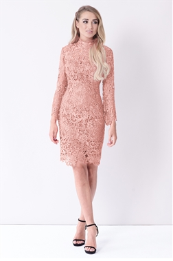 Sistaglam Jamilla blush High Neck Long Sleeve crochet wax lace Dress