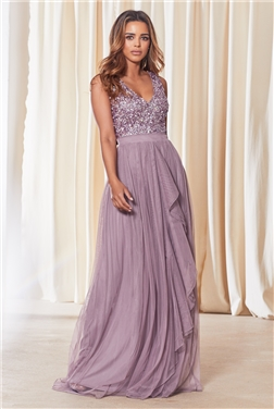 Sistaglam Yasmin Dark Lilac Sequin V-Neck Detailed Top Tiered Bridesmaid Dress