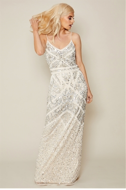 Sistaglam Flory cream beaded maxi dress
