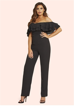Jessica Wright Brooke Black Bardot Frill Jumpsuit