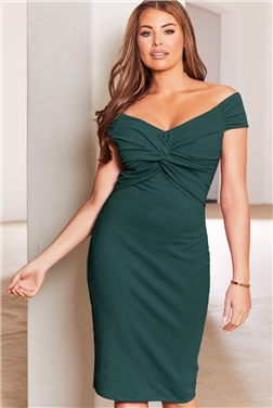 SISTAGLAM LOVES JESSICA WRIGHT CAROLYN GREEN WRAP KNOT MAXI DRESS