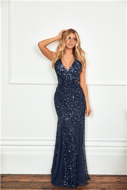 SISTAGLAM GISELLE NAVY SEQUIN MAXI DRESS FEATURING INSERTS