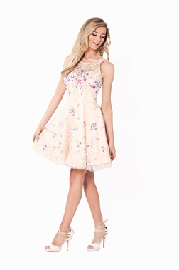 Sistaglam June Lace Dress With Satin And Net Skater Skirt