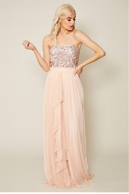 Sistaglam Taliana Strapless Sequin Top Blush Maxi Dres
