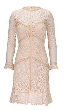 Sistaglam Dee blush all over lace long sleeve dress