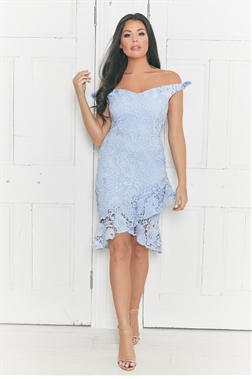 Jessica Wright Avianna cornflower bardot crochet lace dress with assymetric frill hem