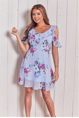 Sistaglam loves Jessica Wright Isadori multi floral cold shoulder mini dress