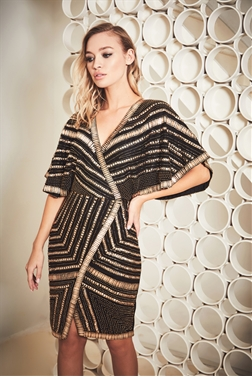 Sistaglam Qleo black/gold heavy embellished wrap cape midi dress