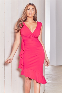 8c55994aa3 Sistaglam loves Jessica Wright Timara hot pink fishtail cami dress