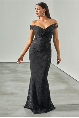 Sistaglam loves Jessica Wright Mariny black bardot maxi sequin lace with knot detail