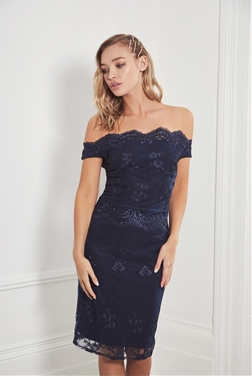 Sistaglam Ziane lace bardot navy midi dress