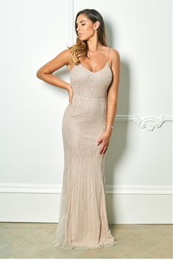fa25a61fbd Sistaglam Monika blush waterfall sequin maxi dress