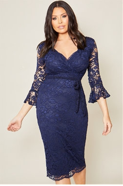 Jessica Wright Rafi navy lace wrap midi bodycon dress with frill sleeve