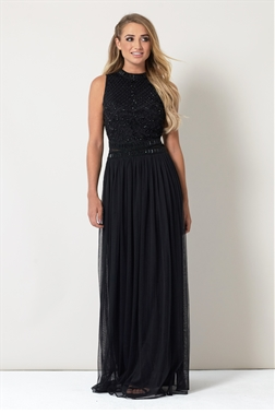 Sistaglam Debbie Black Embroidered High Neck Maxi Dress