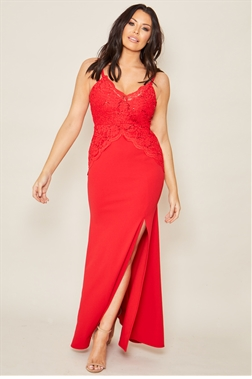 Jessica Wright Santini red lace v neck maxi dress