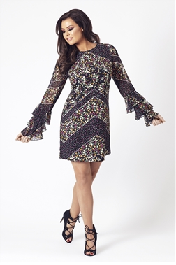 Jessica Wright Layala Floral Multicolour Frill Sleeve Shift Dress