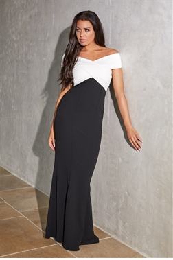 Sistaglam Loves Jessica Wright Cassila monochrome wrap bardot maxi dress