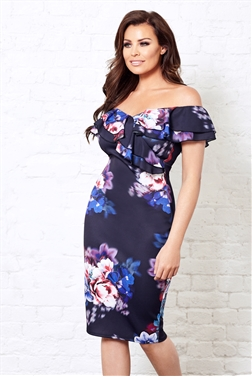Jessica Wright Soriya Multi Bardot Frill Floral Print Bodycon Dress