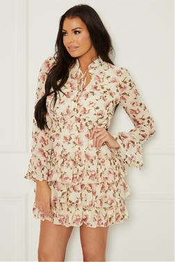 Sistaglam Loves Jessica Wright Geraldina white multi chiffon ruffle skirt dress with tie neck and long sleeves