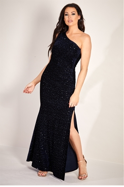 Sistaglam Loves Jessica Wright Ziana navy velvet glitter lurex stretch one shoulder maxi dress with ruching