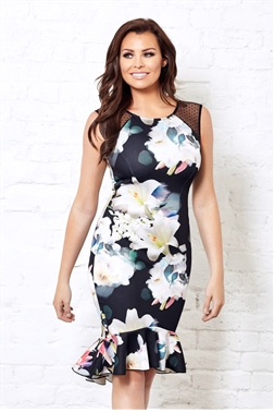 Jessica Wright Harmony Floral Print Bodycon Frilled Hem Dress