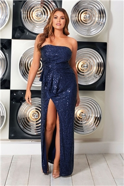 Jessica Wright Tazanna Navy Strapless Sequin Maxi Dress