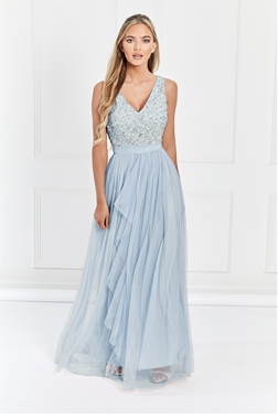 Sistaglam Yasmin blue Sequin v neck Detailed top Tiered Bridesmaid Dress