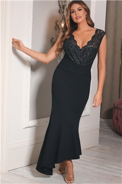 Sistaglam Loves Jessica Wright Harvey Two Tones Black/Gold Lace Frill Hem Midi Dress