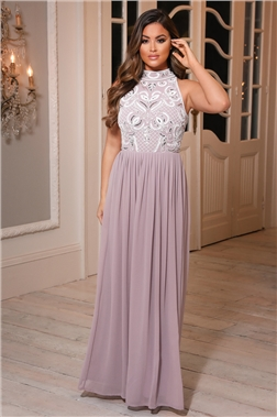 Sistaglam Luna Petite Lilac Sequin detailed halterneck maxi Dress