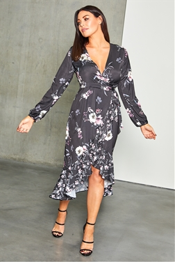 Sistaglam Loves Jessica Wright Elva black multi floral print long sleeve frill wrap midi dress