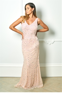 780fe66816df Sistaglam Special Edition Jessica Rose Sistaglam Lindiana pink all over  sequin maxi dress