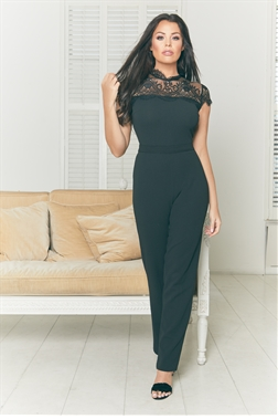 Jessica Wright Madelina black eyelash trim detail straight leg stretch jumpsuit