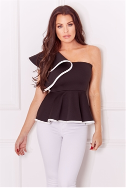 bfeb3d700d1727 Jessica Wright Eboney monochrome one shoulder frill top
