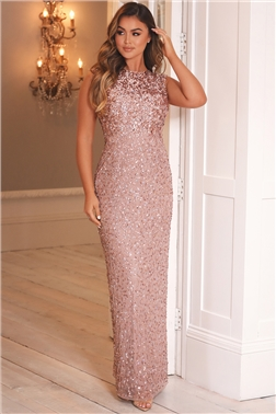 Sistaglam Luxe All Over Sequin Blakely Rose Gold Gown Dress With A Keyhole Back