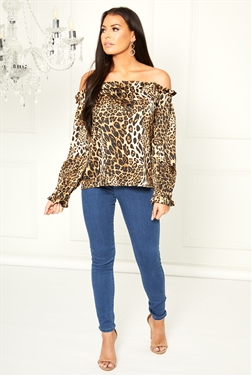 Sistaglam Loves Jessica Wright Bambi brown multi bardot animal print top with long sleeve