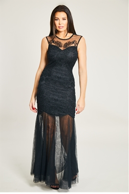 Jessica Wright Alaina Black Sequin Sheer Maxi Dress