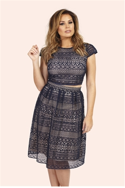 Jessica Wright Pollie Navy Paneled Lace Midi Skirt
