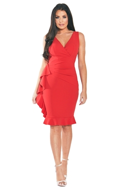 Sistaglam Loves Jessica Wright Timara Red Frill Hem Dress