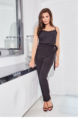 Jessica Wright Morgane Black Waist Tie Trousers
