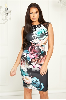 Sistaglam Loves Jessica Wright Nella multi floral bodycon dress with lace shoulder detail