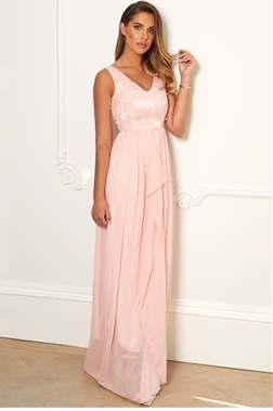 Sistaglam Special Edition Jessica Rose Baliana petite Blush/pink v neck maxi dress