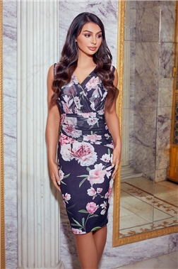 Jessica Wright Loves Sistaglam Molly Petite Black Floral Midi Dress