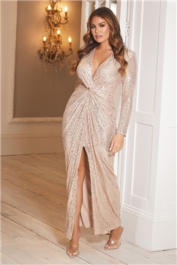 Sistaglam Loves Jessica Wright Dulcie Gold All Over Sequin Maxi Dress