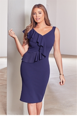Sistaglam loves Jessica Wright Brook navy bodycon midi dress with frill