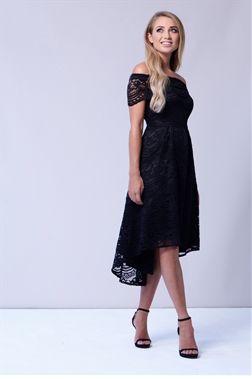 Sistaglam Bracey Black Lace Bardot Dip Hem Dress