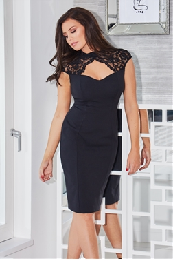Jessica Wright Tracey Black Lace Peephole Sweetheart Neckline Bodycon Midi Dress