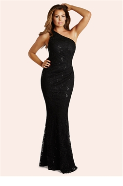 Jessica Wright Alison Black Sequin Lace One Shoulder Maxi Dress