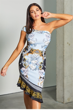 Sistaglam loves Jessica Wright Jaye one shoulder print dress with midi frilled hem